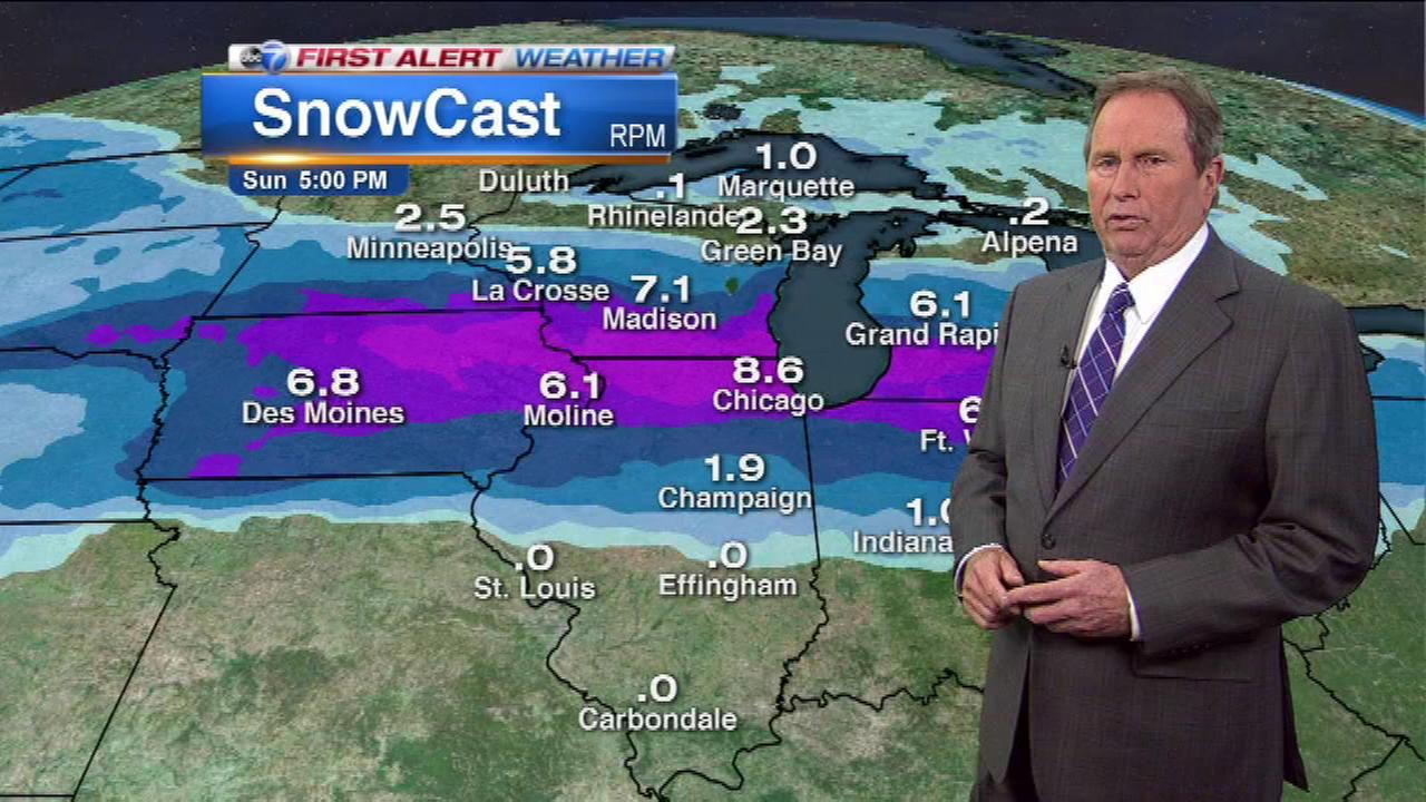 Several inches of snow are expected to fall this weekend across the Chicago area.