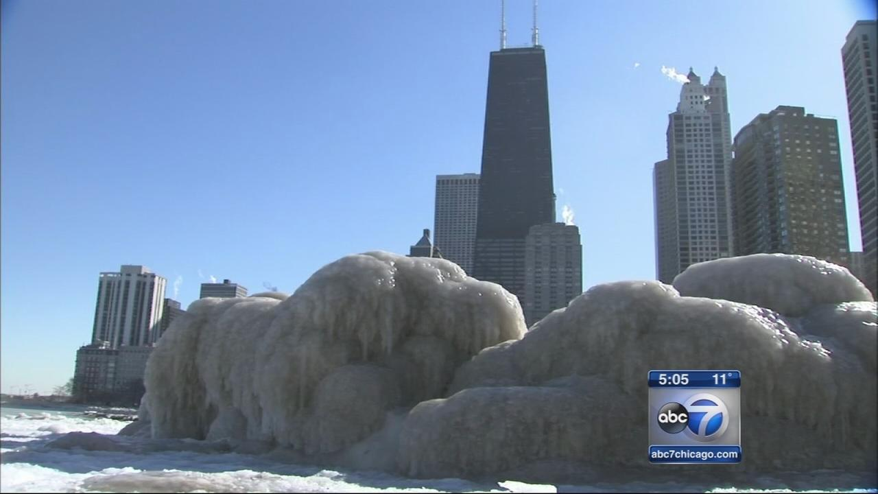Iced over Lake Michigan could mean cooler spring