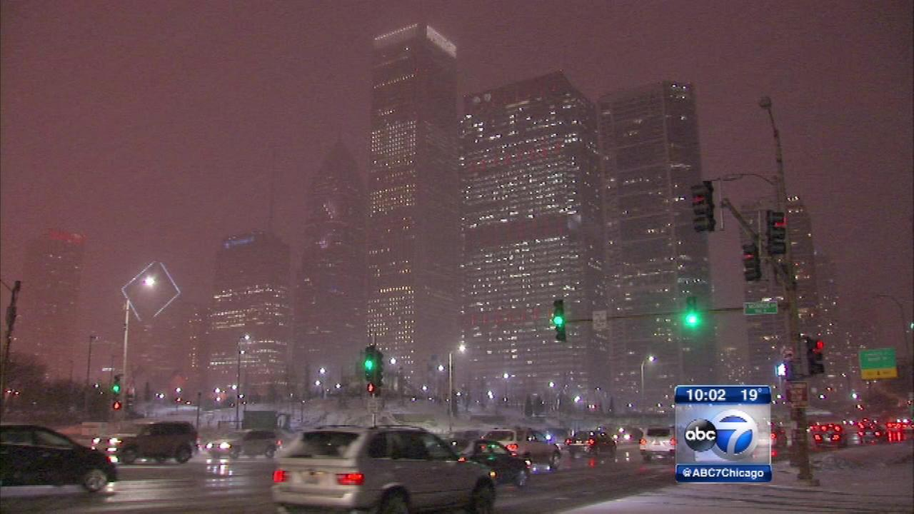 A clipper system is bringing 1 to 3 inches of fresh snow to the Chicago area.