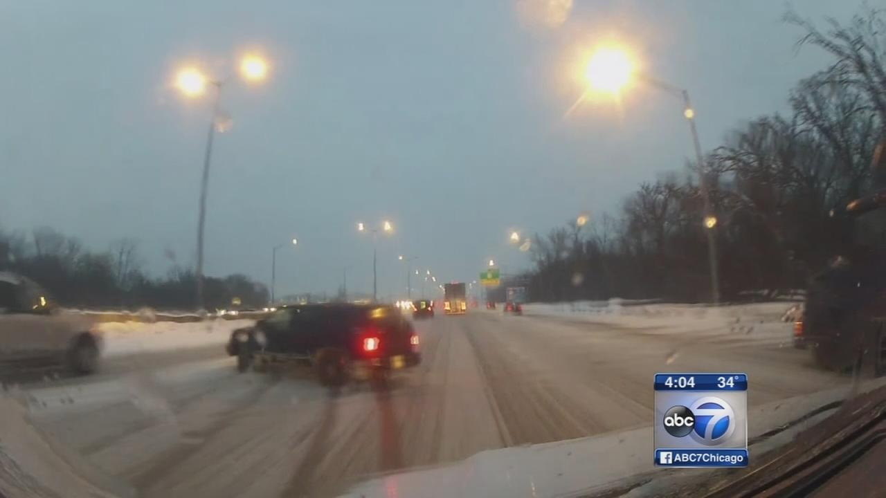 Snow-ice mix slickens roads and sidewalks