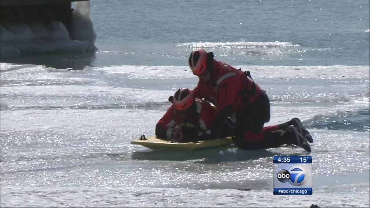 Coast Guard practices ice rescues on Lake Michigan
