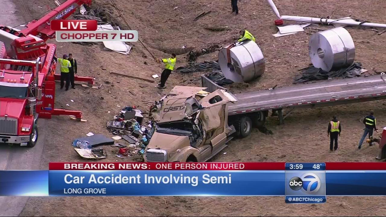 1 injured in crash involving semi