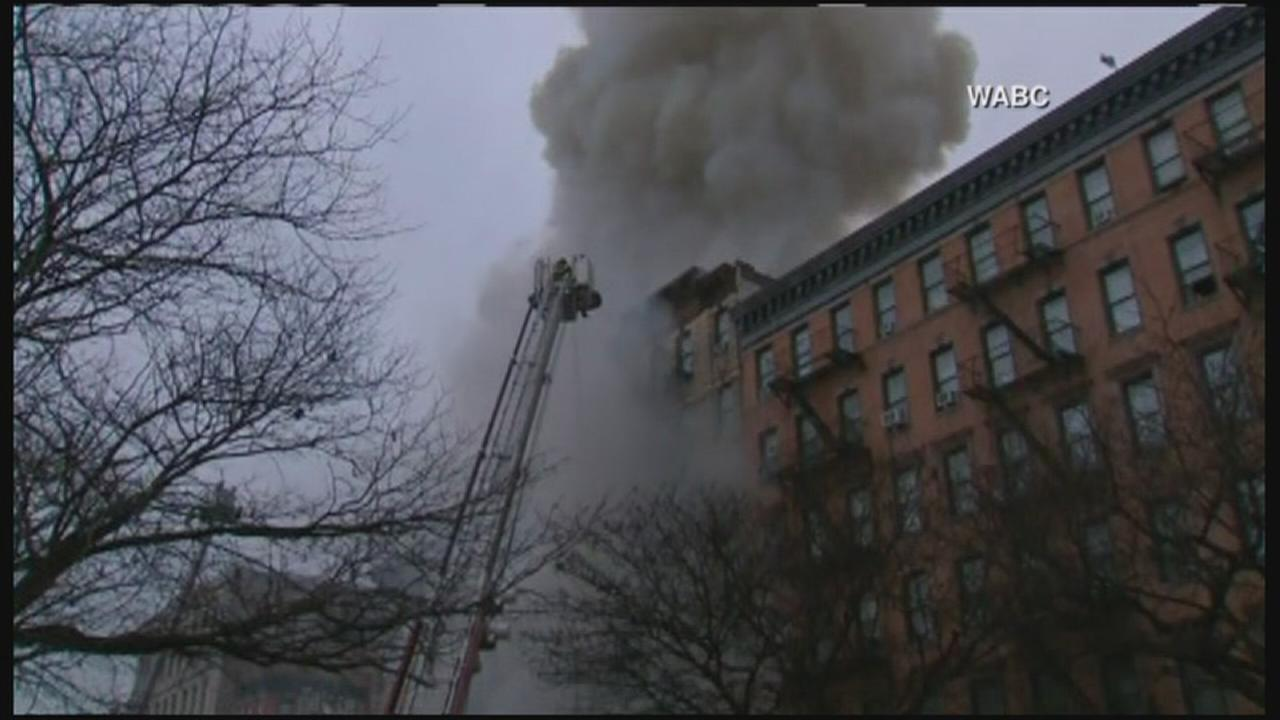 Fire rages after explosion, collapse at East Village apartment