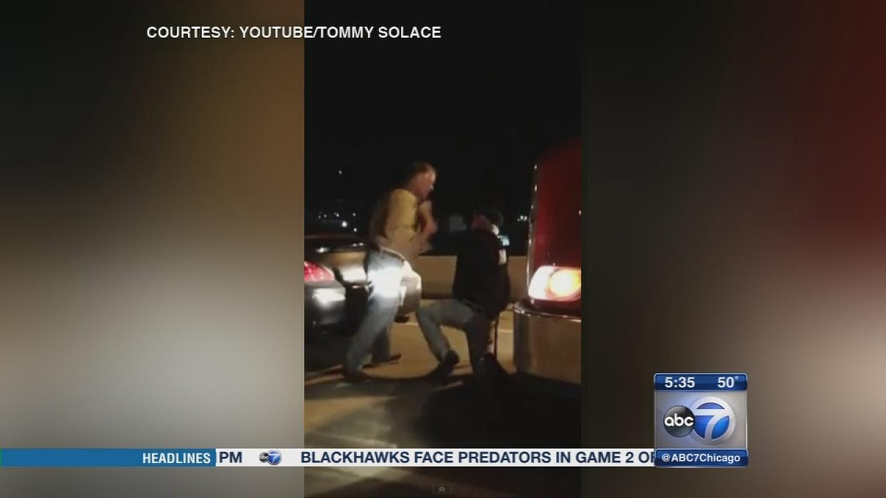 Video shows attack on truck driver in apparent case of road rage
