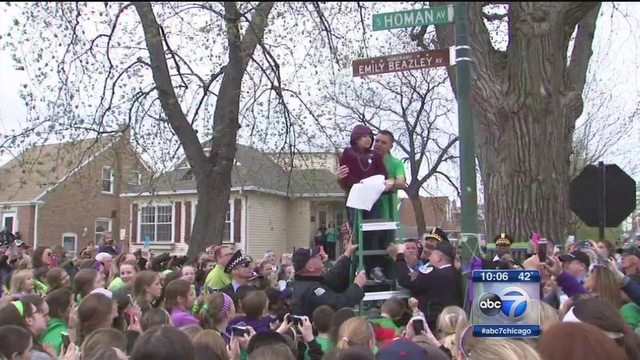 Young cancer victim honored with re-naming of SW Side block