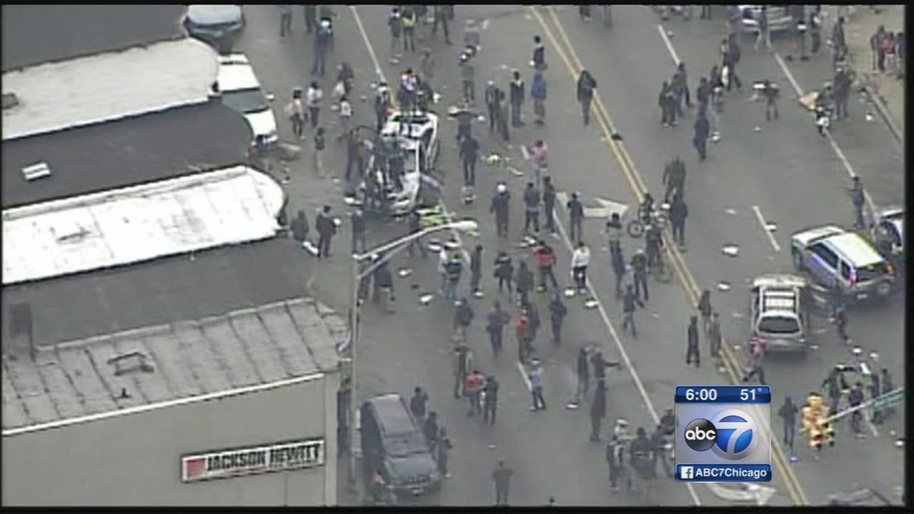 Baltimore officers injured in violent protests