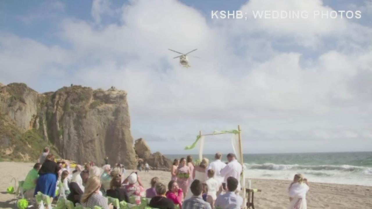 Helicopter interrupts beach wedding, rescued climber apologizes to newlyweds
