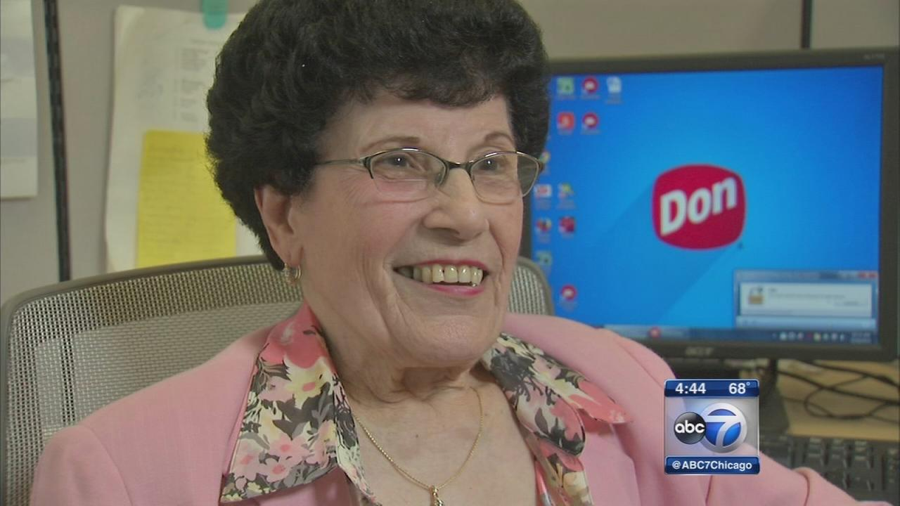 90-year-old woman celebrates 74 years with company