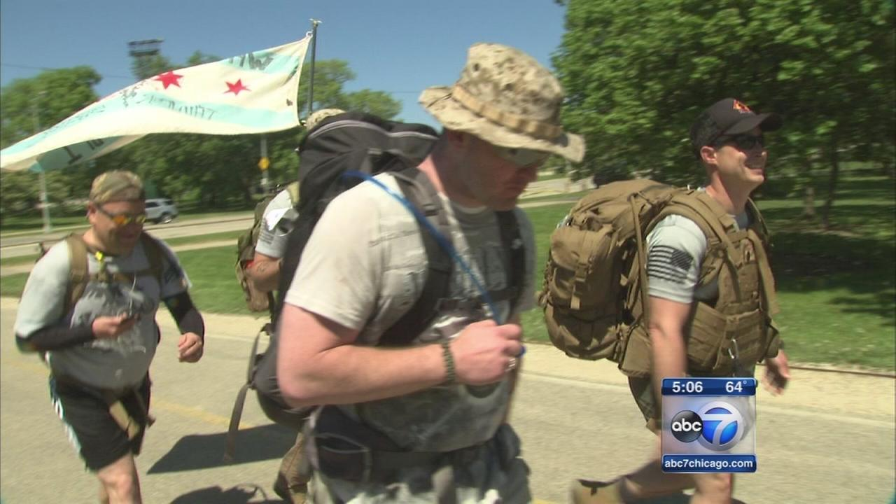 Veterans march 22 miles to end suicide
