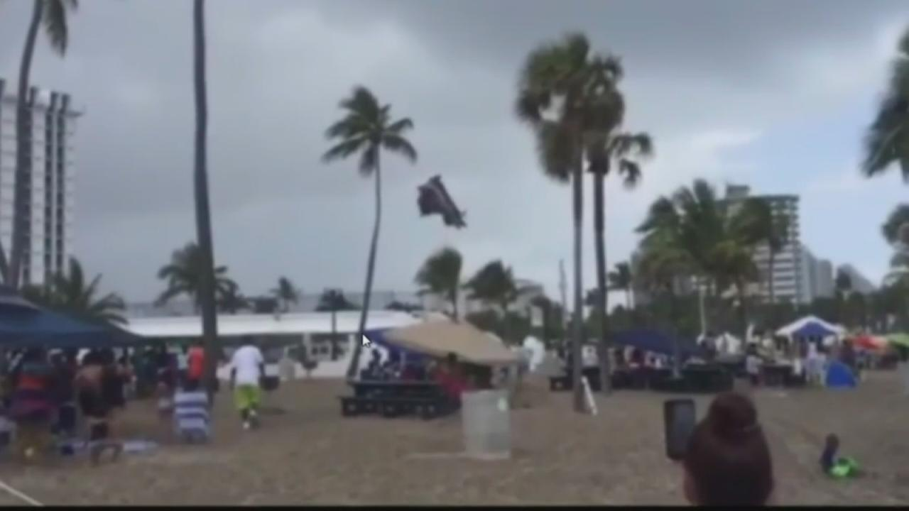 Bouncehouse lifted by waterspout
