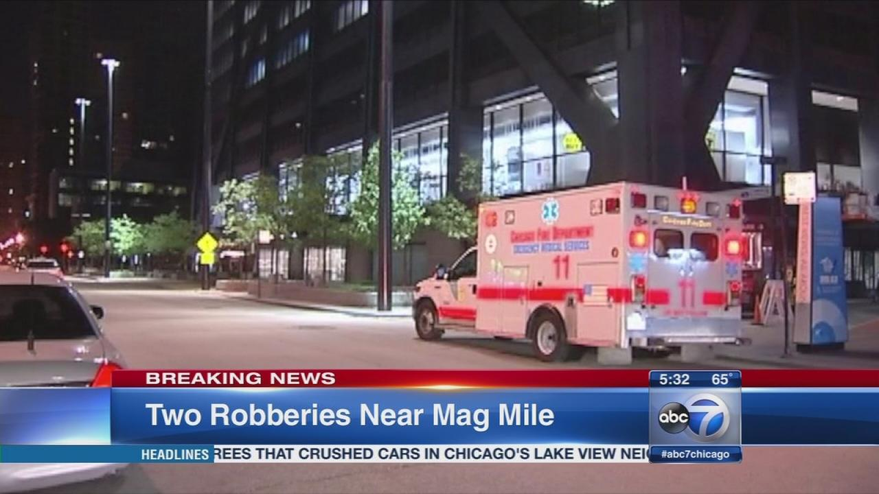 2 robberies reported near Mag Mile overnight