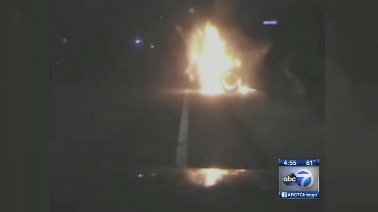Man rescued from burning car in Wisconsin