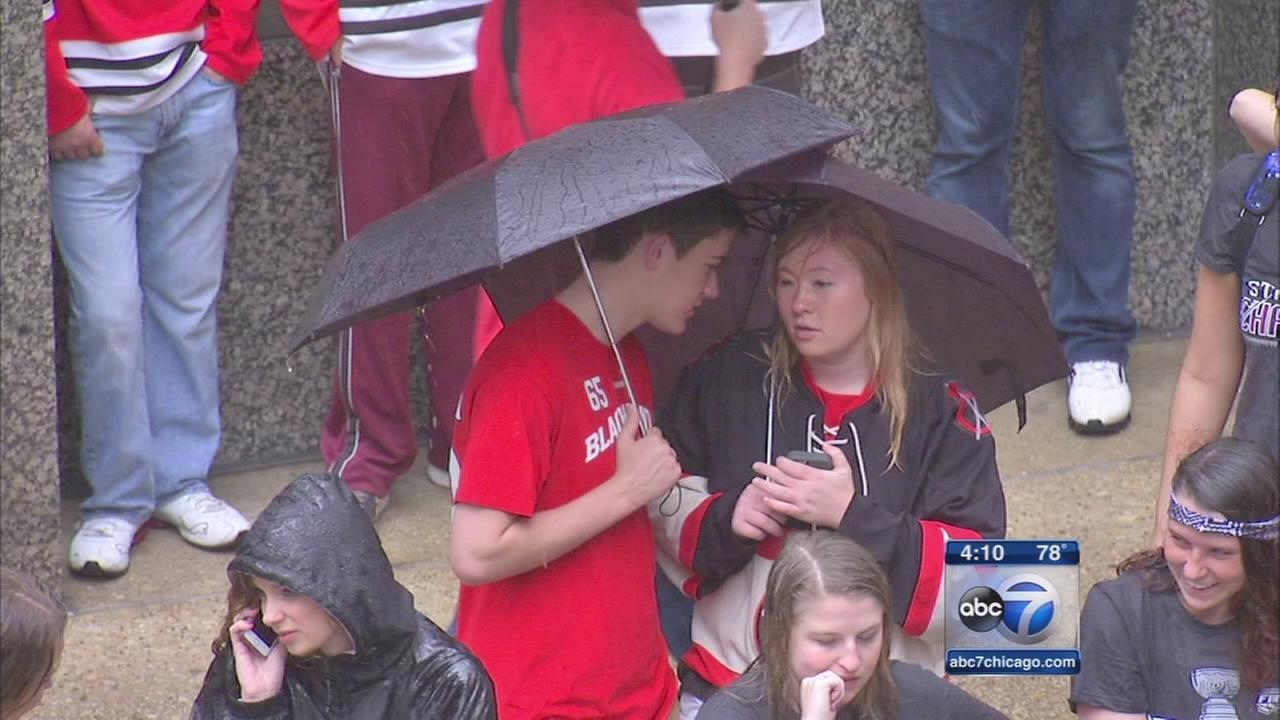 Rain misses Hawks parade, rally