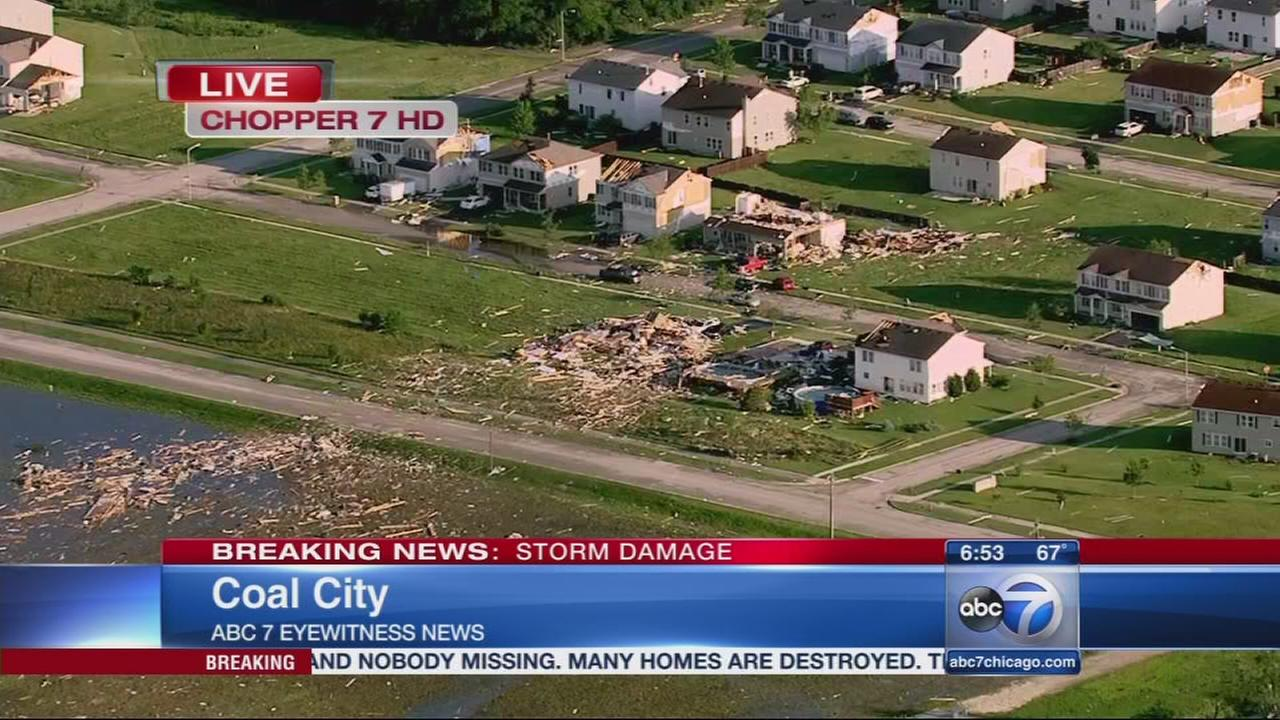 5 injured, no fatalities after Coal City tornado
