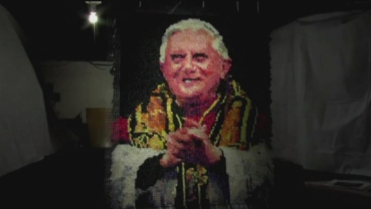 Portrait of pope made of 17,000 condoms draws ire, curiosity