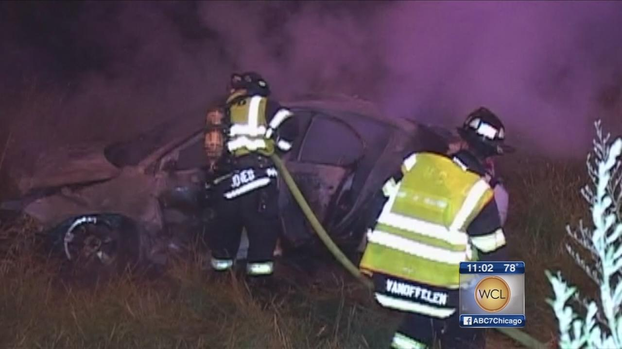 Teen pulled from fiery crash