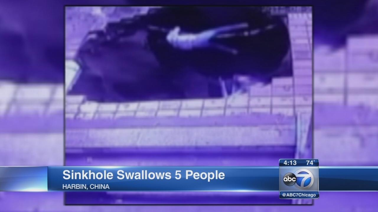 China sinkhole swallows 5 people
