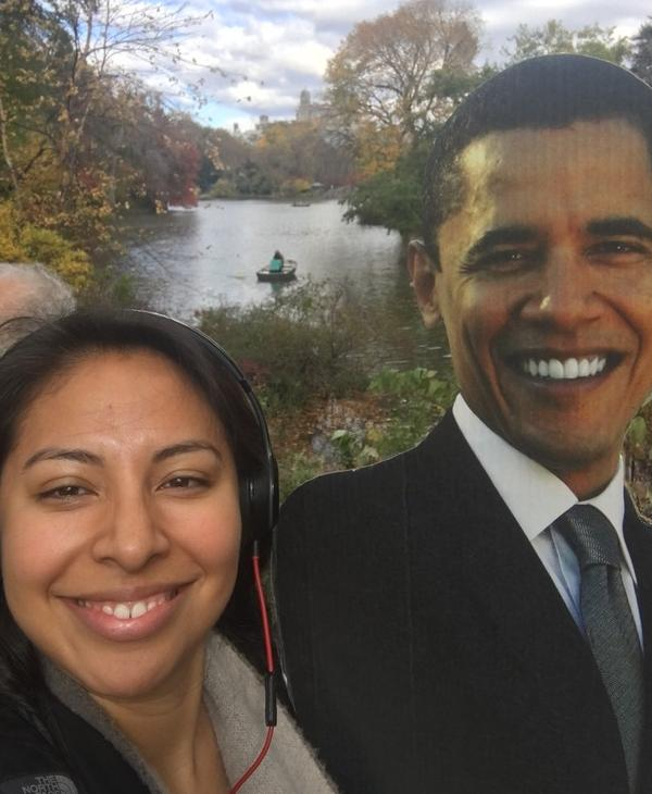 <div class='meta'><div class='origin-logo' data-origin='none'></div><span class='caption-text' data-credit='Ximena N. Larkin'>#BarackingAround in Central Park in New York.</span></div>