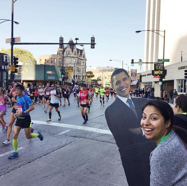 "<div class=""meta image-caption""><div class=""origin-logo origin-image none""><span>none</span></div><span class=""caption-text"">#BarackingAround at the Chicago Marathon.  (Ximena N. Larkin)</span></div>"