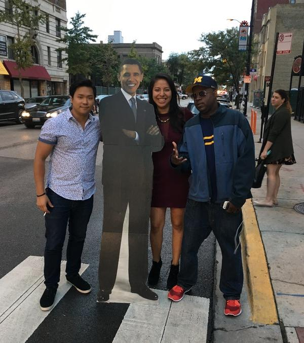 <div class='meta'><div class='origin-logo' data-origin='none'></div><span class='caption-text' data-credit='Ximena N. Larkin'>#BarackingAround with new friends in Chicago.</span></div>