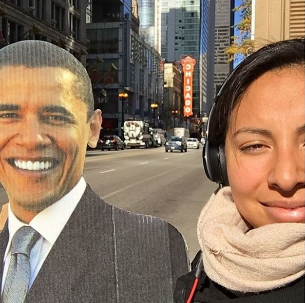 <div class='meta'><div class='origin-logo' data-origin='none'></div><span class='caption-text' data-credit='Ximena N. Larkin'>#BarackingAround on State Street in Chicago.</span></div>