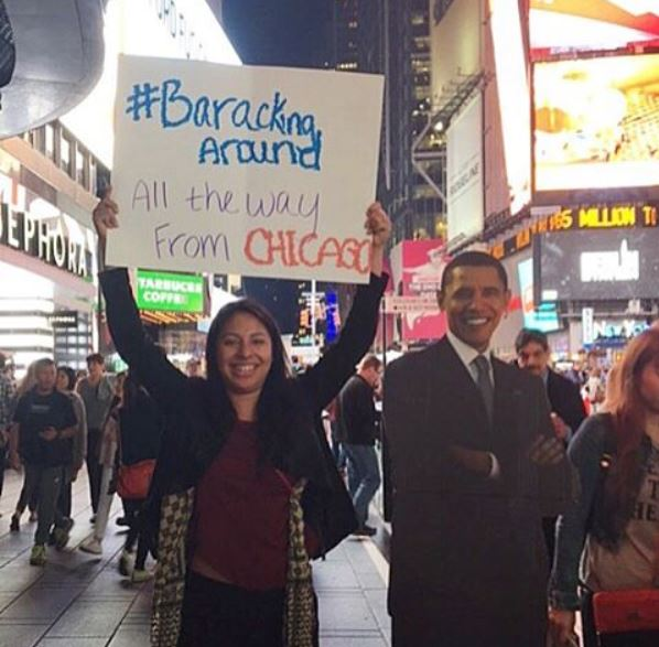 <div class='meta'><div class='origin-logo' data-origin='none'></div><span class='caption-text' data-credit='Ximena N. Larkin'>#BarackingAround in Times Square in New York City.</span></div>