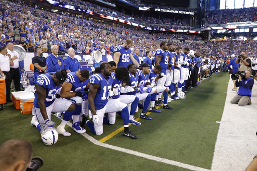 <div class='meta'><div class='origin-logo' data-origin='AP'></div><span class='caption-text' data-credit='AP Photo/Darron Cummings'>Members of the Indianapolis Colts take a knee during the Nation Anthem before an NFL football game against the Cleveland Browns in Indianapolis, Sunday, Sept. 24, 2017.</span></div>