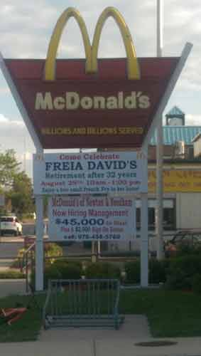 "<div class=""meta image-caption""><div class=""origin-logo origin-image none""><span>none</span></div><span class=""caption-text"">A big party was held to honor a longtime McDonald?s employee. Freia David, who has Down syndrome, is retiring after 32 years. (Charles River Center/Facebook)</span></div>"