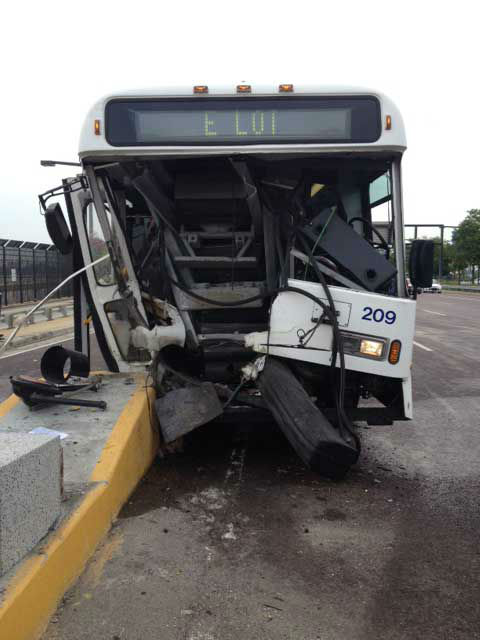 A photo of the bus post-crash. <span class=meta></span>