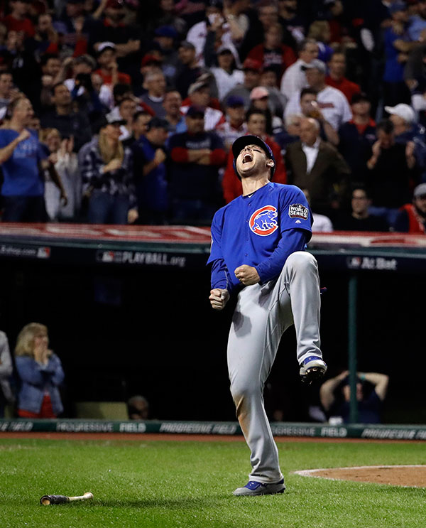 <div class='meta'><div class='origin-logo' data-origin='none'></div><span class='caption-text' data-credit='AP Photo/David J. Phillip'>Chicago Cubs' Anthony Rizzo reacts after scoring on a hit by Miguel Montero during the 10th inning of Game 7.</span></div>