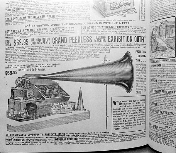 <div class='meta'><div class='origin-logo' data-origin='AP'></div><span class='caption-text' data-credit='AP Photo/Edward Kitch'>A Columbia Gramophone Grand, pictured in a Sears Roebuck catalog from 1902, is shown in this photo from Chicago, Aug. 26, 1948.</span></div>