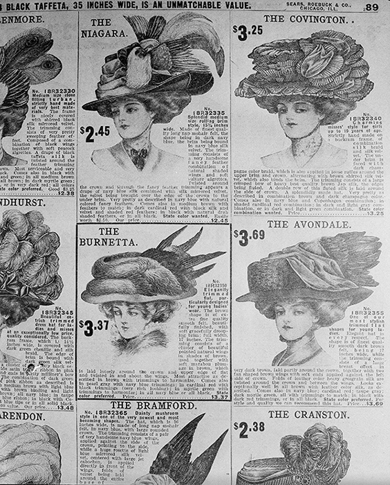 <div class='meta'><div class='origin-logo' data-origin='AP'></div><span class='caption-text' data-credit='AP Photo/Edward Kitch'>Women's hats are pictured in a 1907 Sears Roebuck catalog from the shelves of the Chicago Public Library, Aug. 26, 1948. Hat's of 1907 were huge and low priced.</span></div>