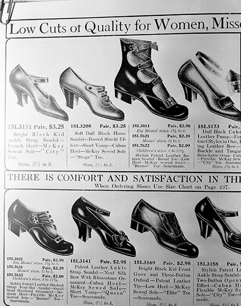 <div class='meta'><div class='origin-logo' data-origin='AP'></div><span class='caption-text' data-credit='AP Photo/Edward Kitch'>Illustrations of women's shoes are pictured in a 1918 issue of a Sears Roebucks catalog on the shelves of the Chicago Public Library, Aug. 26, 1948.</span></div>