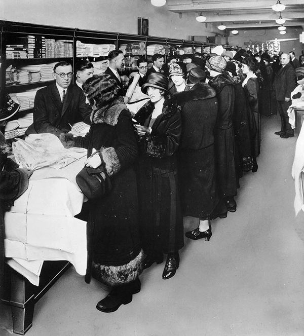<div class='meta'><div class='origin-logo' data-origin='AP'></div><span class='caption-text' data-credit='AP Photo/File'>** FILE ** In this file photo from an unknown source, women crowd the counters of one of the first Sears retail stores in 1925.</span></div>