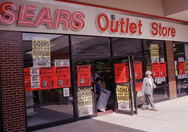 <div class='meta'><div class='origin-logo' data-origin='AP'></div><span class='caption-text' data-credit='AP Photo/Charles Bennett'>The Sears Outlet Store in Downers Grove, Sept. 17, 1993. The remaining outlet stores closed in 1993, marking the end of the company's 105-year-old catalog operation.</span></div>