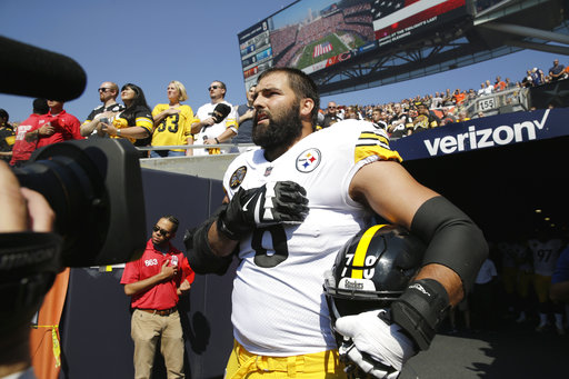 <div class='meta'><div class='origin-logo' data-origin='AP'></div><span class='caption-text' data-credit='AP Photo/Nam Y. Huh'>Pittsburgh Steelers offensive tackle and former Army Ranger Alejandro Villanueva (78) stands outside the tunnel alone during the national anthem.</span></div>
