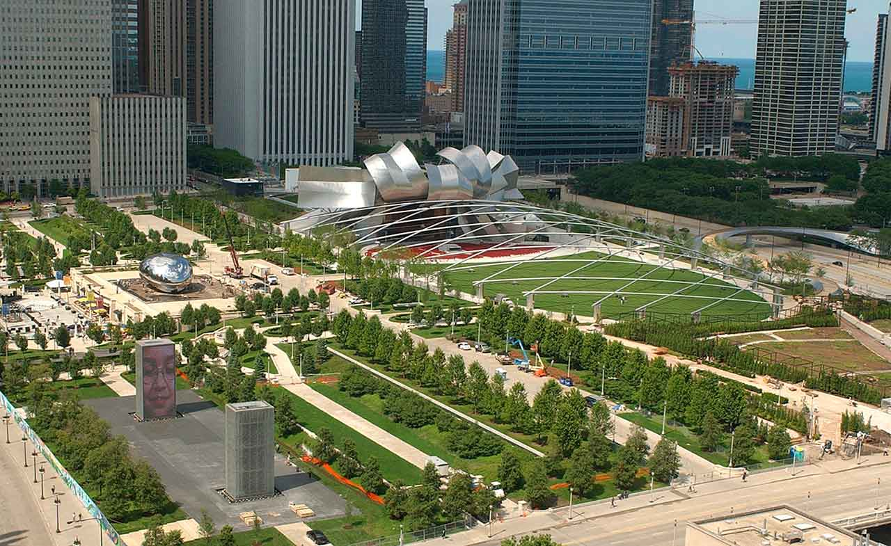 Millennium Park, Chicago's 24-acre, 475 million-dollar urban park, is shown on July 8, 2004, just before it officially opens. <span class=meta>AP Photo/Chicago Sun-Times Jim Frost</span>