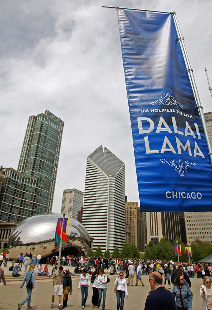 Visitors gather inside Millennium Park before a public talk by The Dalai Lama on Sunday, May 6, 2007, in Chicago, Ill. <span class=meta>AP Photo/Jerry Lai</span>