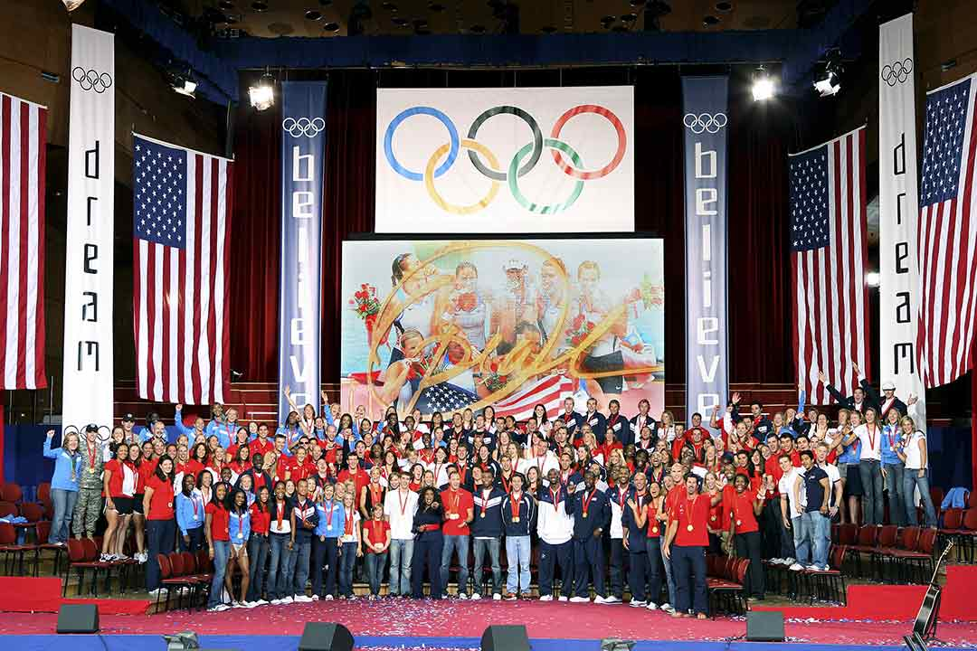 Oprah Winfrey and U.S. Olympic athletes on Wednesday, Sept. 3, 2008, for the taping of the season premiere of