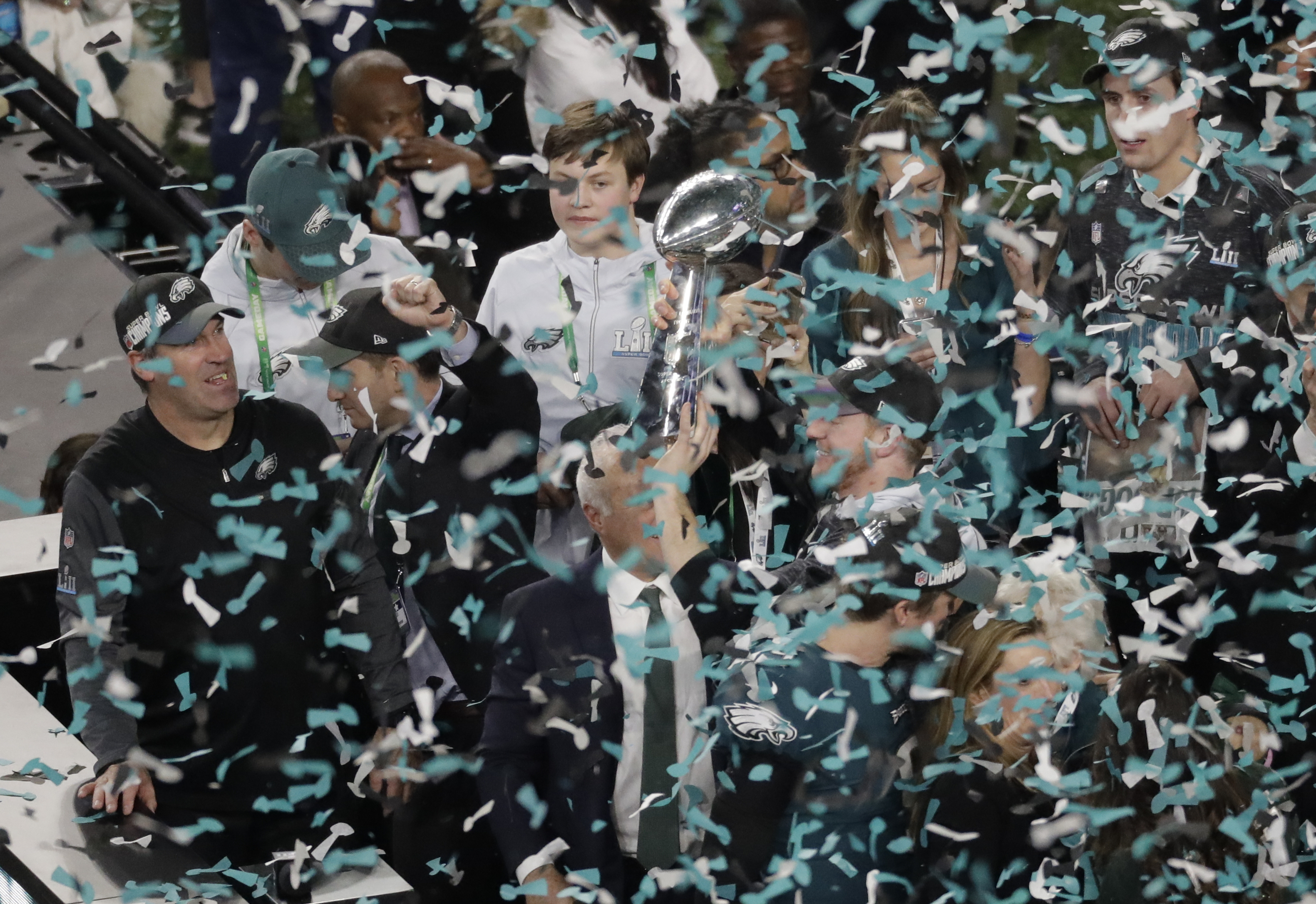 <div class='meta'><div class='origin-logo' data-origin='AP'></div><span class='caption-text' data-credit='AP Photo/Eric Gay'>Philadelphia Eagles quarterback Carson Wentz hoists the Vincent Lombardi trophy after the NFL Super Bowl 52 football game against the New England Patriots.</span></div>