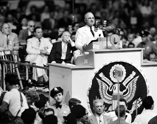 """<div class=""""meta image-caption""""><div class=""""origin-logo origin-image none""""><span>none</span></div><span class=""""caption-text"""">President Harry S. Truman is shown during his acceptance speech at the Democratic National Convention in Philadelphia, July 15, 1948.  (AP Photo)</span></div>"""