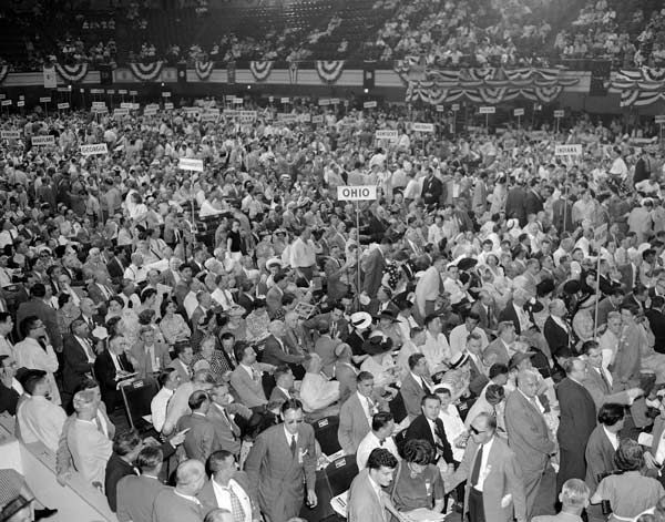 """<div class=""""meta image-caption""""><div class=""""origin-logo origin-image none""""><span>none</span></div><span class=""""caption-text"""">The main floor of Convention Hall fills up at the midway point during the opening session of the 1948 Democratic National Convention in Philadelphia, Pennsylvania, July 12, 1948. (AP Photo)</span></div>"""