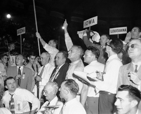 """<div class=""""meta image-caption""""><div class=""""origin-logo origin-image none""""><span>none</span></div><span class=""""caption-text"""">Alabama delegates to the Democratic National Convention wave and shout in Philadelphia, July 14, 1948 as they seek recognition from the chairman.  (AP Photo)</span></div>"""