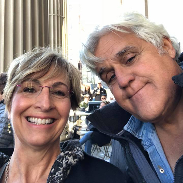 <div class='meta'><div class='origin-logo' data-origin='WPVI'></div><span class='caption-text' data-credit=''>Jay Leno is pictured with Mayor Dianne Herrin of West Chester, Pa. during a March for Our Lives event on March 24, 2018.</span></div>