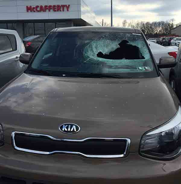 <div class='meta'><div class='origin-logo' data-origin='none'></div><span class='caption-text' data-credit='McCafferty Ford/Kia'>Officials say a large chunk of ice fell from the sky and crashed into the windshield of a Kia Soul parked at a car dealership in Mechanicsburg, Pennsylvania.</span></div>