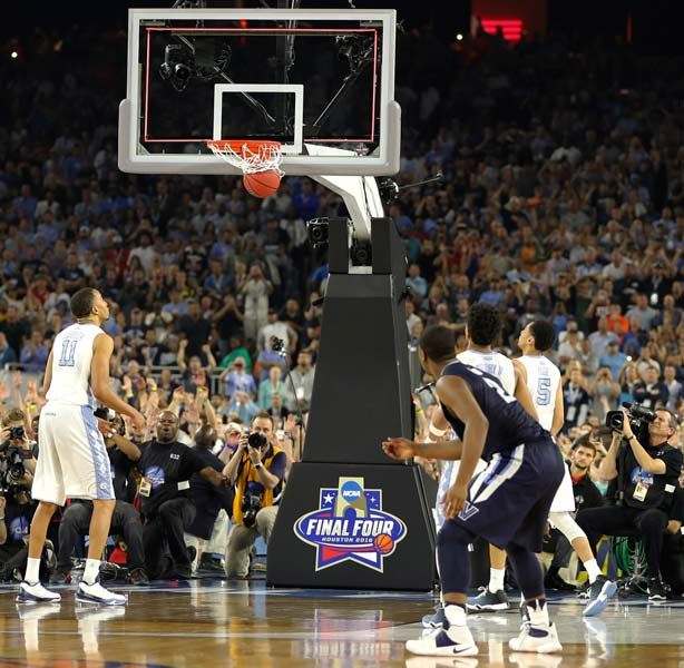 <div class='meta'><div class='origin-logo' data-origin='AP'></div><span class='caption-text' data-credit='AP Photo/Kiichiro Sato'>Villanova's Kris Jenkins (2) watches his game winning three point basket at the closing seconds of the NCAA Final Four tournament college basketball championship game.</span></div>