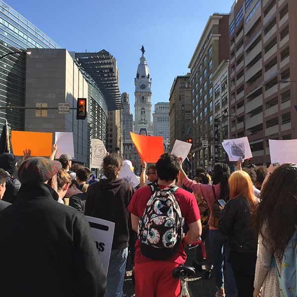 <div class='meta'><div class='origin-logo' data-origin='WPVI'></div><span class='caption-text' data-credit=''>Large protest approaches City Hall.</span></div>