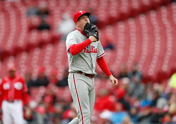 "<div class=""meta image-caption""><div class=""origin-logo origin-image ap""><span>AP</span></div><span class=""caption-text"">Philadelphia Phillies relief pitcher Daniel Stumpf walks to the dugout after being pulled from the game during the fourth inning of a baseball game against the Cincinnati Reds. (AP Photo/Gary Landers)</span></div>"