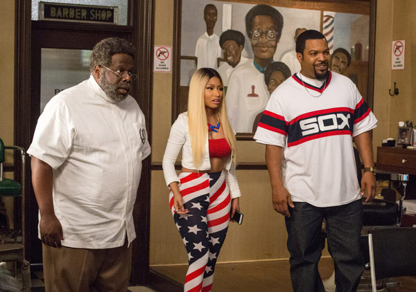 "<div class=""meta image-caption""><div class=""origin-logo origin-image ap""><span>AP</span></div><span class=""caption-text"">In this image released by Warner Bros., Cedric The Entertainer, from left, Nicki Minaj and Ice Cube appear in a scene from ""Barbershop: The Next Cut."" (Chuck Zlotnick/Warner Bros. via AP)</span></div>"