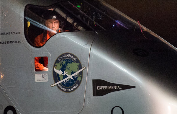 <div class='meta'><div class='origin-logo' data-origin='AP'></div><span class='caption-text' data-credit='AP Photo/Noah Berger'>Solar Impulse 2 pilot Bertrand Piccard looks out his cockpit window shortly after landing at Moffett Field in Mountain View, Calif., on Saturday, April 23, 2016.</span></div>
